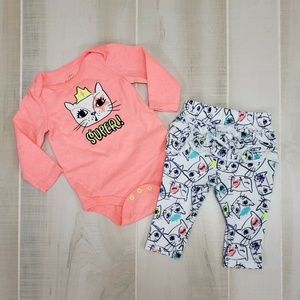 Cat & Jack Baby Girls Cat Outfit 0-3 Months